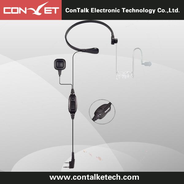 ContalkeTech Throat PTT Mic Covert Acoustic Tube Earpiece for Motorola Kenwood Radios Walkie Talkie