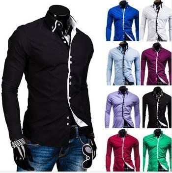 male double collar casual side buckle long-sleeve shirt fashion slim shirt men