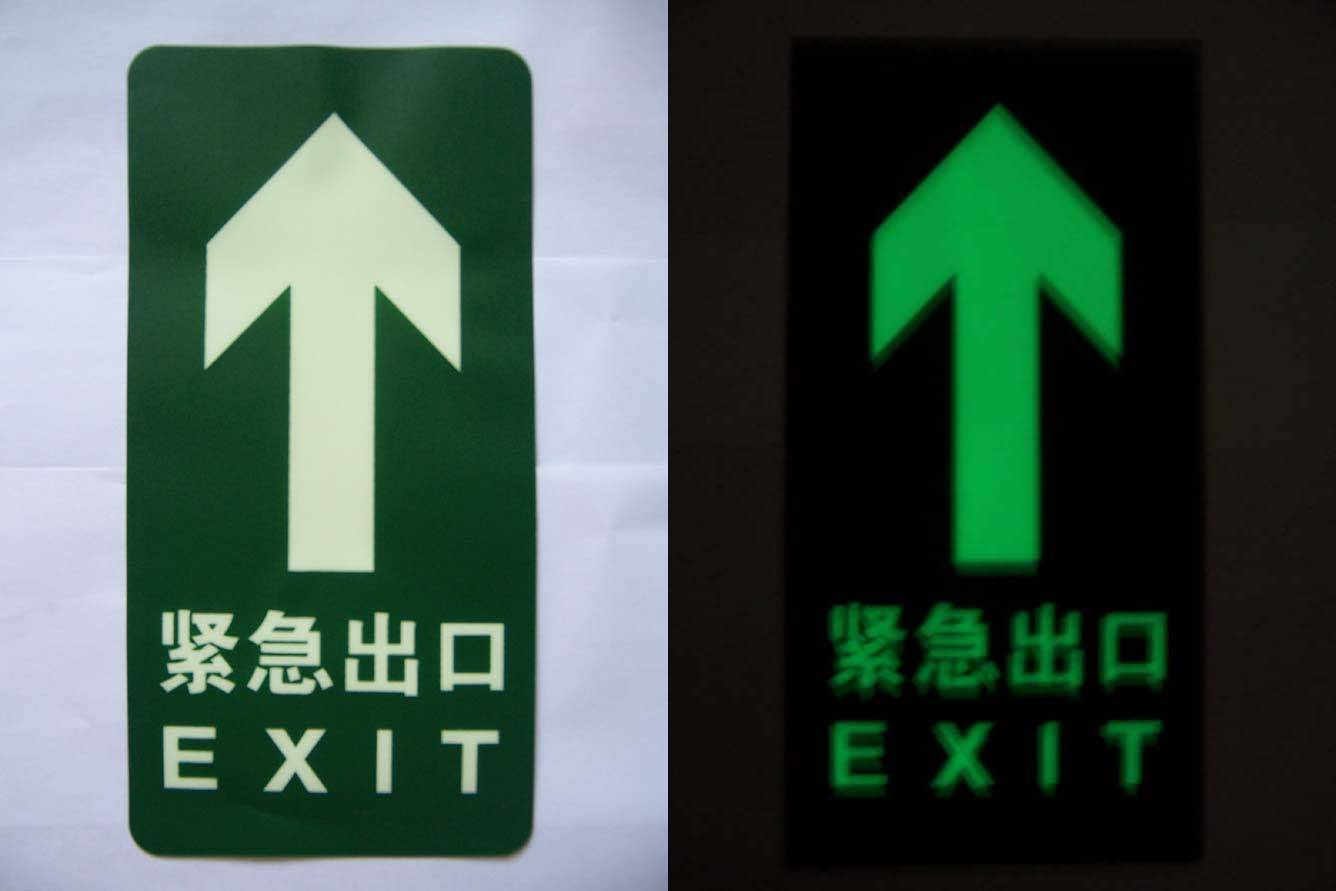 Photo luminescent glow safety Signs