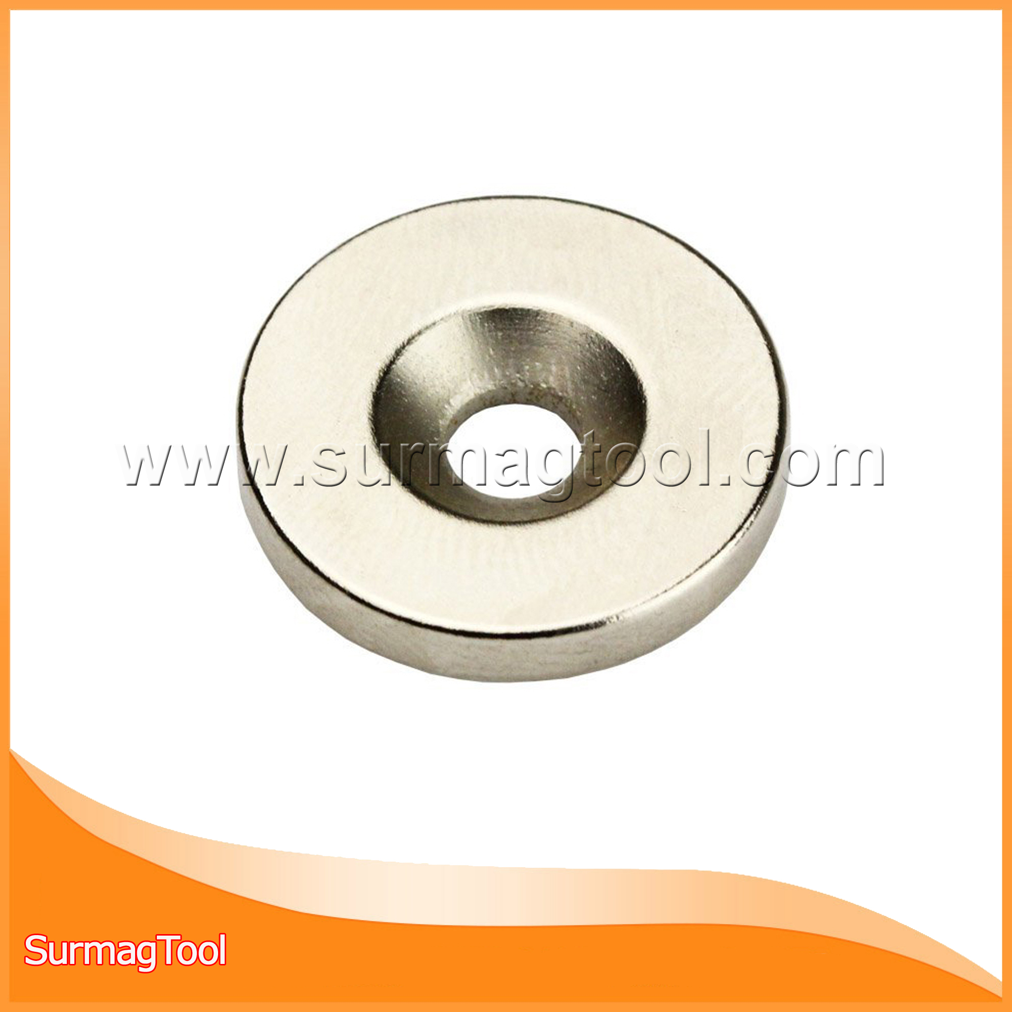 Strong ring ndfeb magnet with countersunk hole