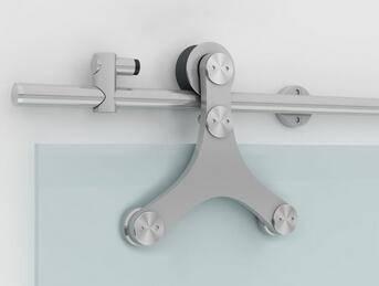 Wholesale frameless hanging triangle stainless steel glass sliding door hardware