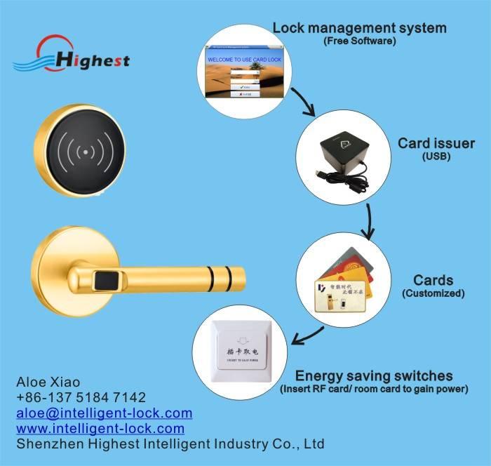 SP02-J RFID electric hotel smart lock waterproof hotel lock hotel lock card
