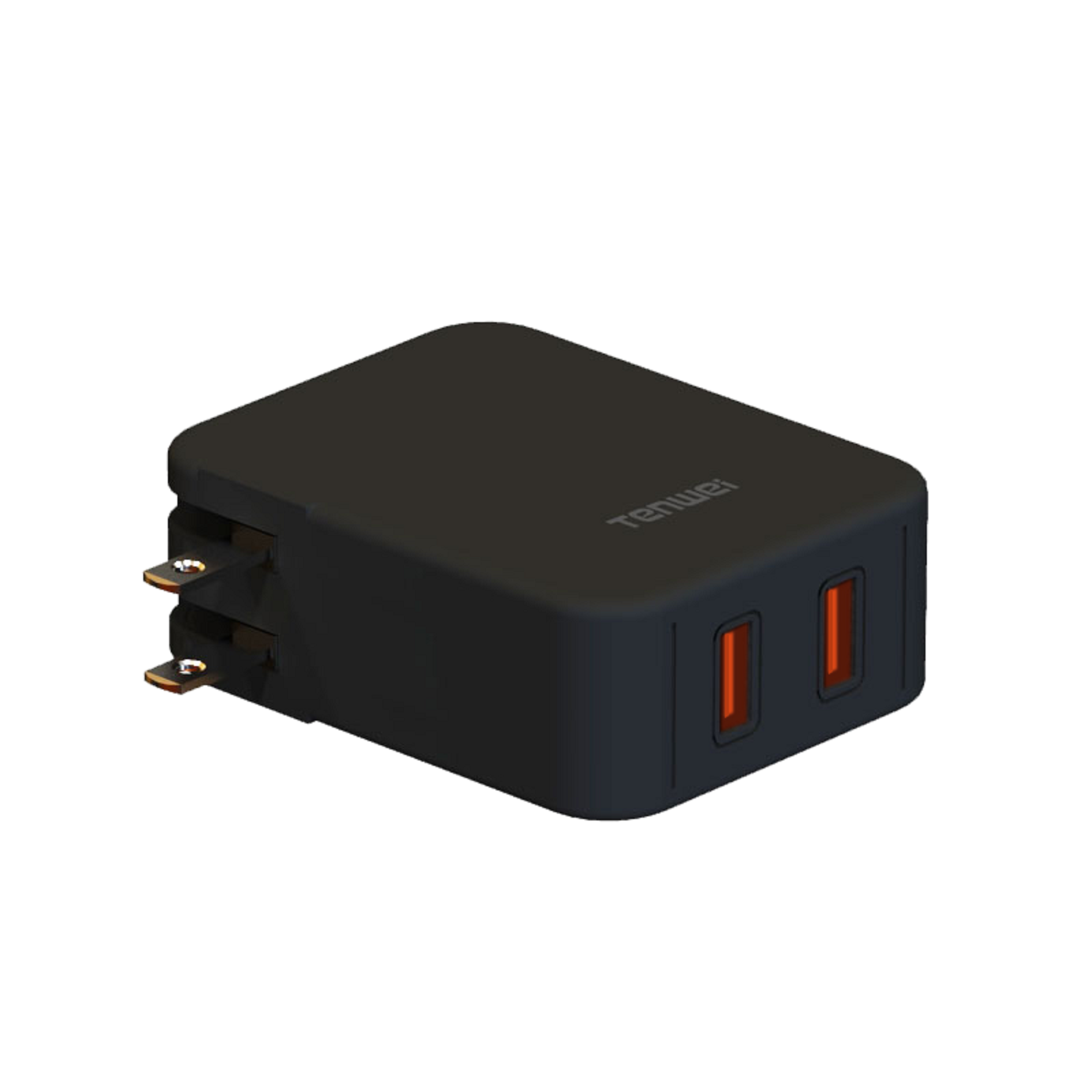 TS36D QC 3.0 36W Dual Ports Wall Charger with Foldable Plug