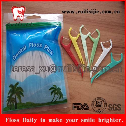 Dental Floss Toothpicks Bright Color Different Design Floss Picks