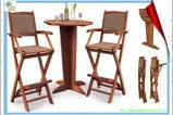 wooden bar chairs and table