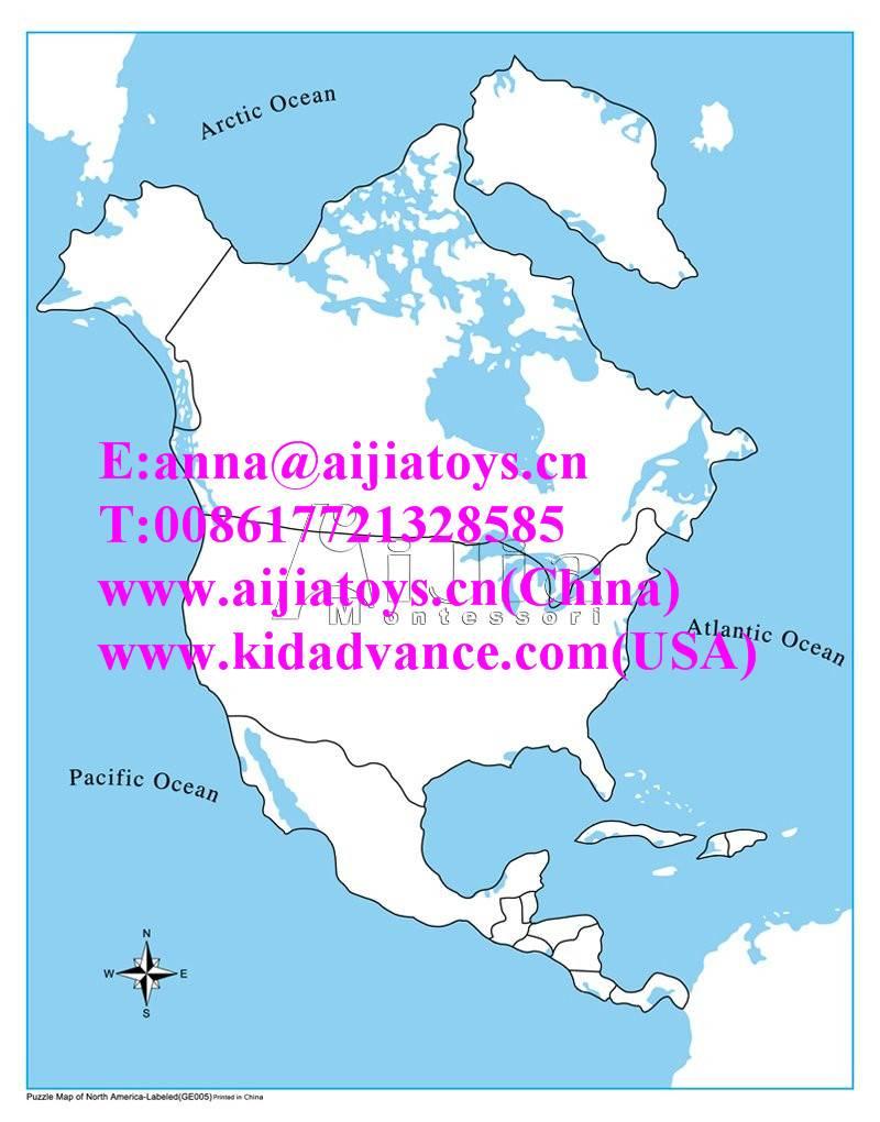 montessori Unlabeled North America Control Map,montessori materials toys