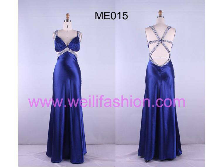 Long Beading Pleated Satin Evening Dresses