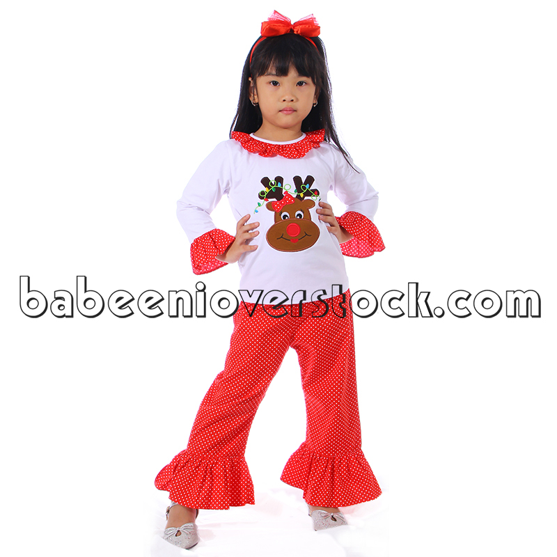 Adorable reindeer appliqued set for little girls - BB841