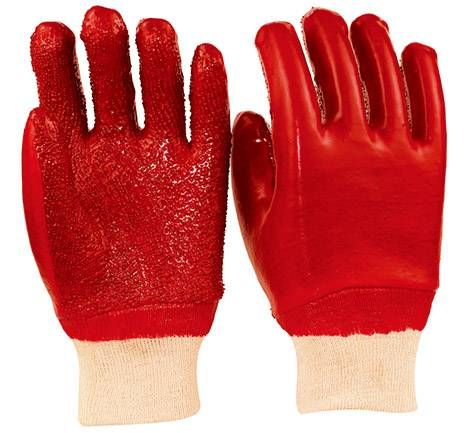 26cm  red working safety PVC gloves with palm and fingers