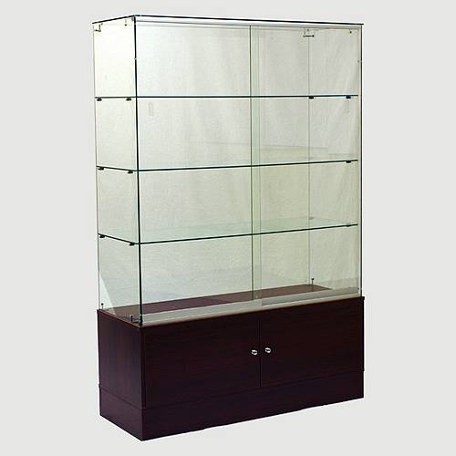 Frameless Wall Showcase with Storage Cabinet