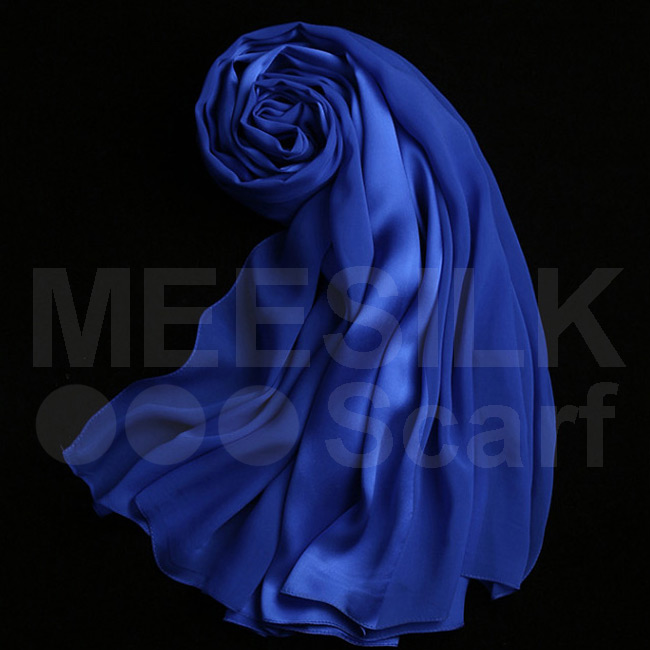 New Arrival Chiffon Scarf Hijab Royal Blue Color 100% Silk Scarves