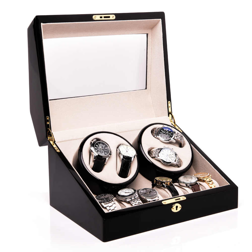 Automatic Watch Winder Wooden Storage Case Display Box for 10 Watches 3 Rotation Modes Quiet Motor