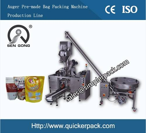 Pre-made Zip Bag Powder Packing Machine Production Line with Auger Filler