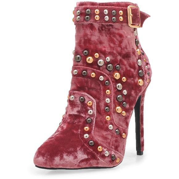 Stud Stiletto Heel Velvet Ankle Boots 2017 Hot Sex Boot