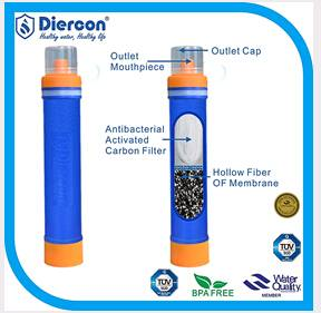Diercon life saving straw personal water filter camping gear hot sale (PS01)