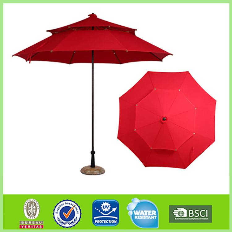 2.4m*8k double deck fiberglass straight sun garden umbrella