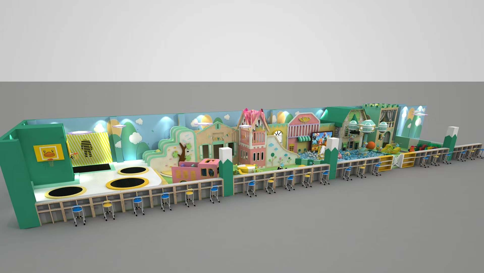 Customized Indoor playground Soft play equipment with Ball pit and Trampolines