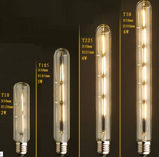 6W LED Dimmable Filament Glass Tube Lamp E27 12Volt T30 Led Dimmable Filament Bulbs