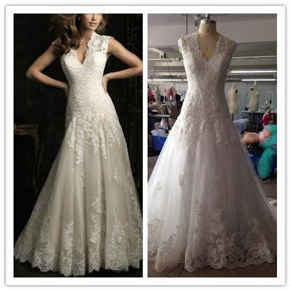 France romantic lace outlined wedding dress ruffles exquisite