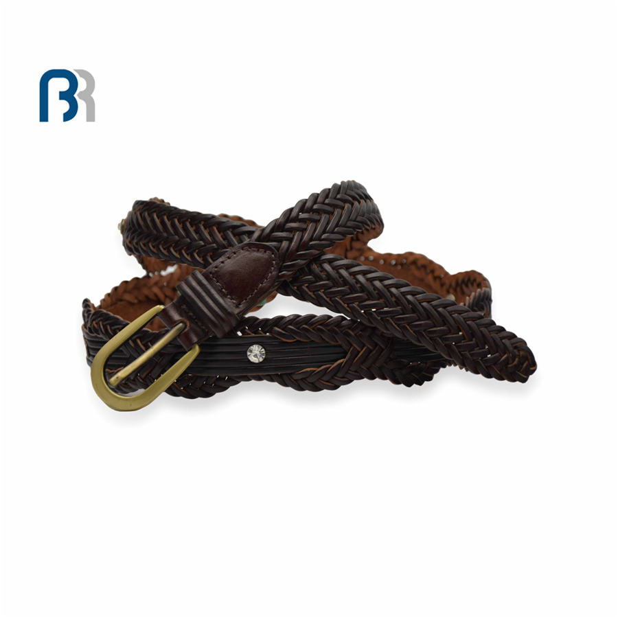 Ladies Rhinestone Braided Leather Belt