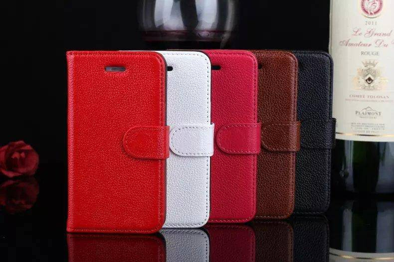 100% Genuine Leather Cellphone Cases Lichee Pattern Mobile Cover Wallet with Card Cash Slots for Iph