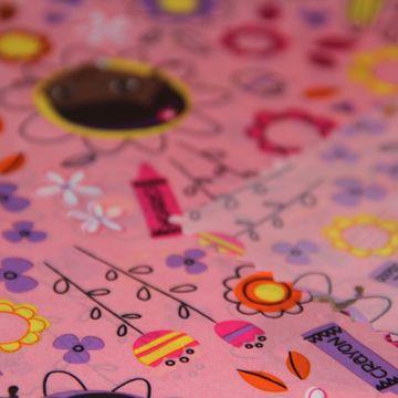 Pink printed down-proof polyester taffeta fabric
