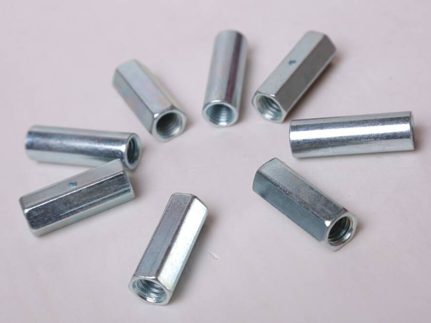 high quality carbon steel DIN6334 galvanized hex long nut coupling nut