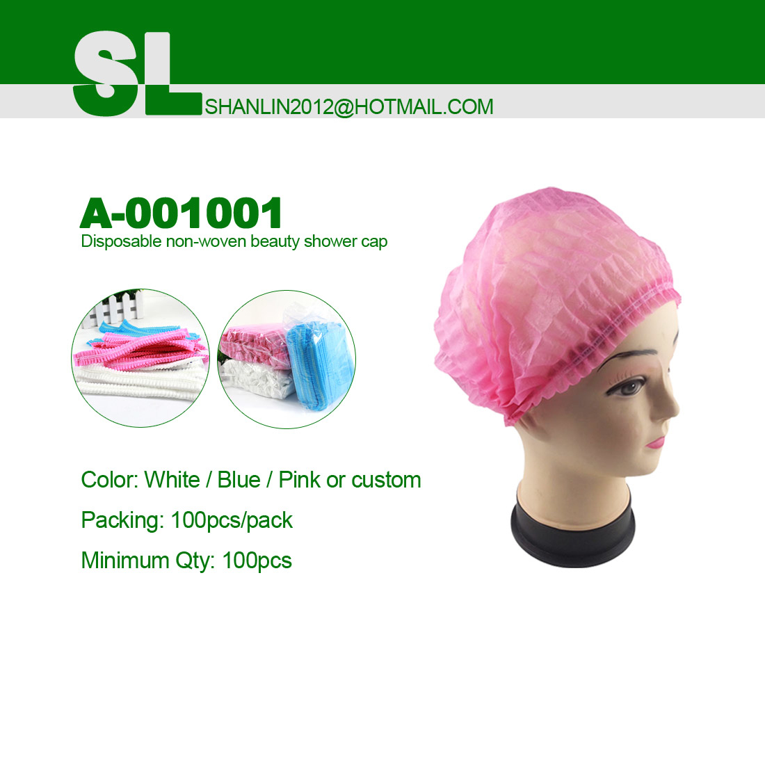 Disposable nonwoven or PE shower caps use for beauty spa facial