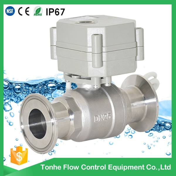 dn25 12v Electric water Flow control Sanitary ball valve ISO 9001 CE