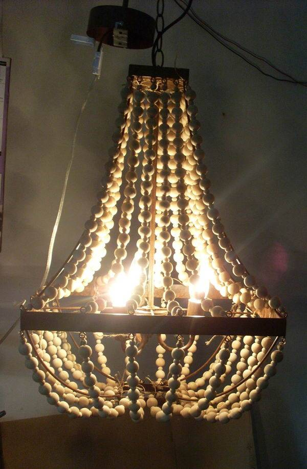 antique Wood Beaded Jute Rope Iron Chandelier/wood beads chandelier/Scalloped Wood Bead Chandelier