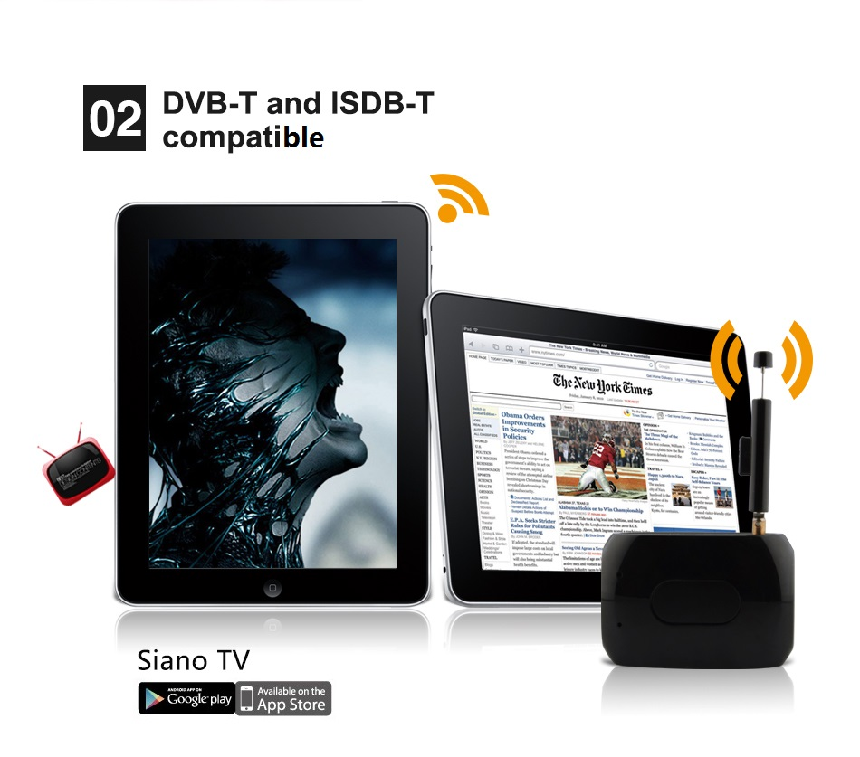 DVB-T ISDB-T Full Seg One Seg WiFi Link DTV Receiver, Siano TV Support Android and IOS