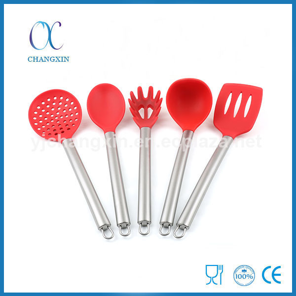 Food Grade 5pcs Silicone Kitchen Accessories Set with Stainless Steel Handle