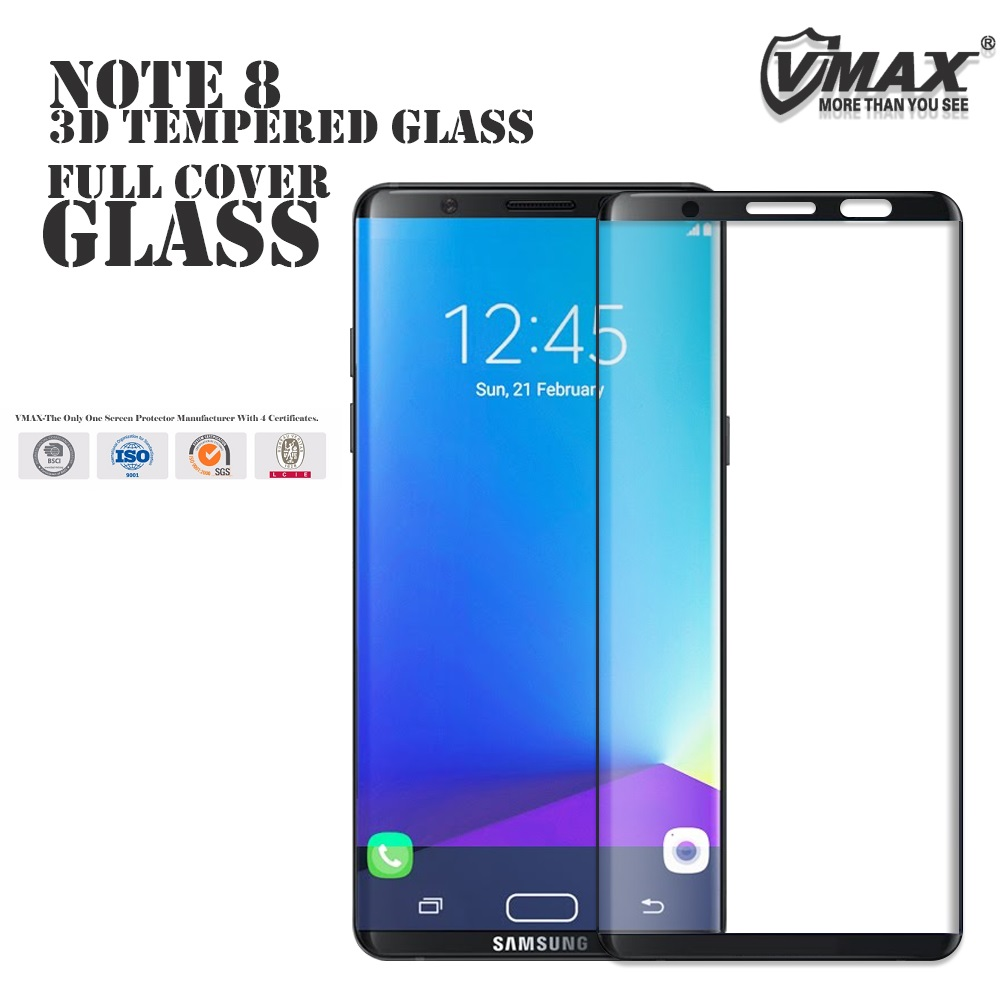 NEWEST BV,SGS verified 3D curved full cover tempered glass screen protectors for Samsung Note 8 s