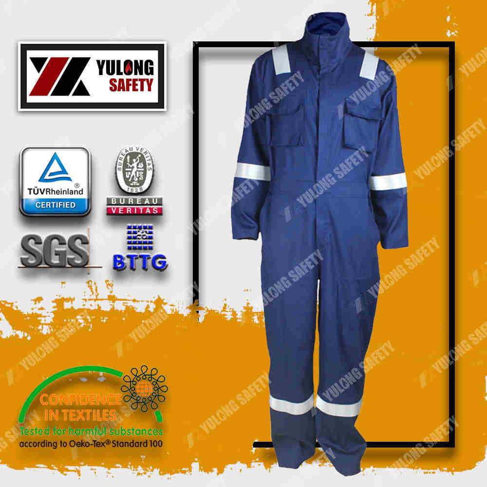 Alibaba CE Flame Resistant Safety Cotton Coverall Workwear for Protective Treatments