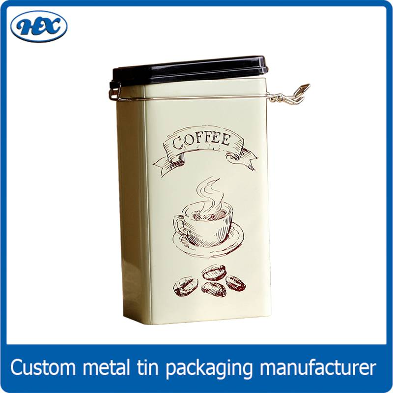 Custom printed metal coffee bean tin box