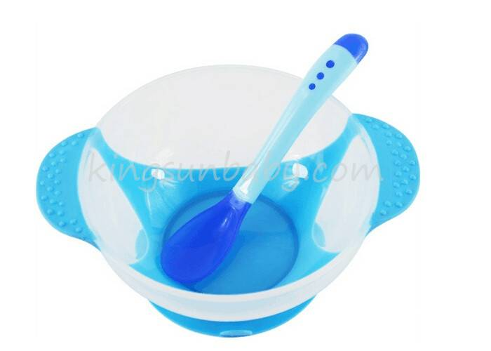 Food Grade Infant Feeding Suction Bowl With Color Changing Spoon BPA Free