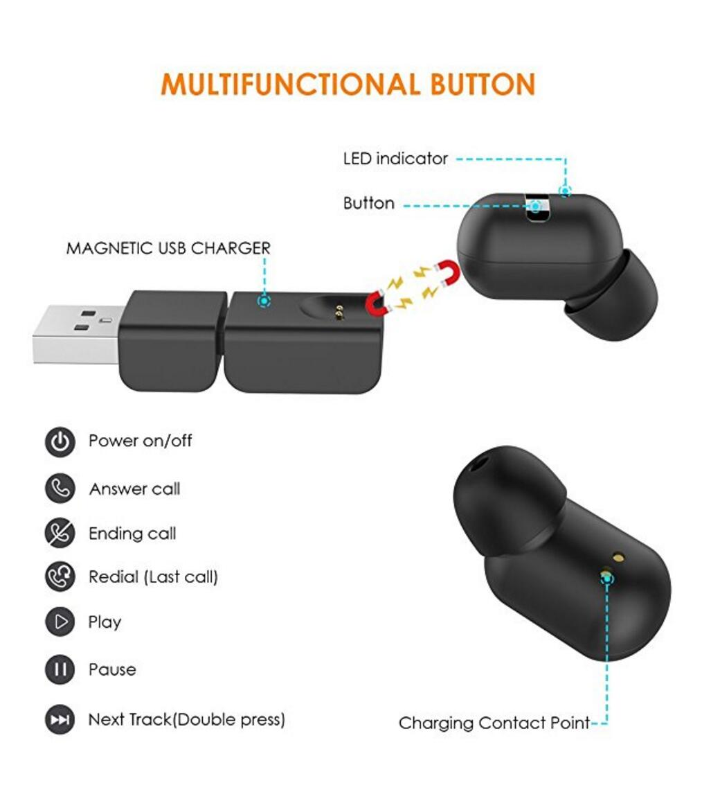 Mini Invisible Smallest Wireless Bluetooth Headphone for iPhone and Andriod Phones-DSDIA