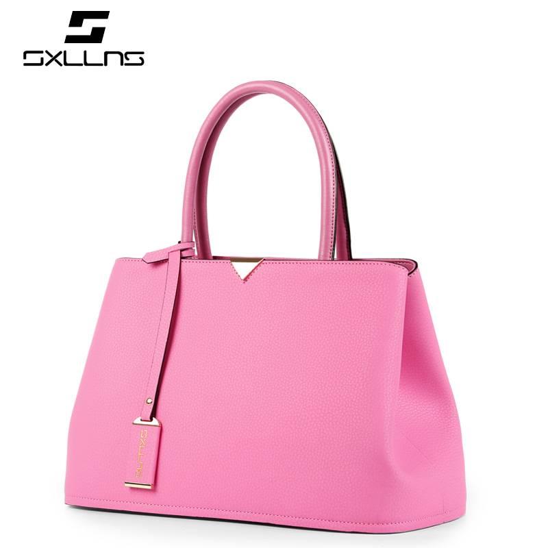 SXLLNS 2015 women fashion handbag genuine cowhide leather tote handbag shoulder bag