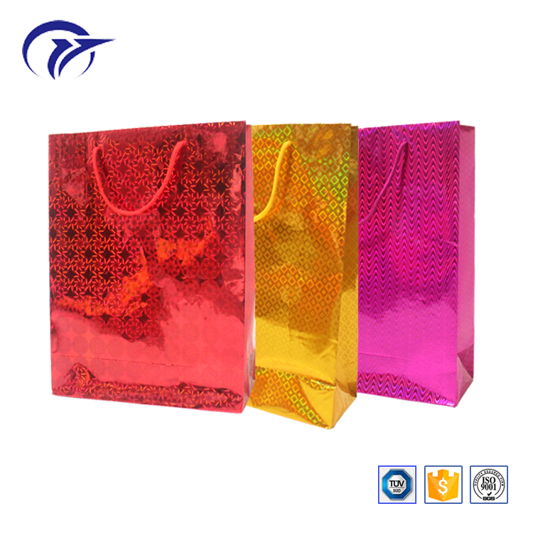 Wholesale kinds of holographic film laser laminated christmas gift paper bag