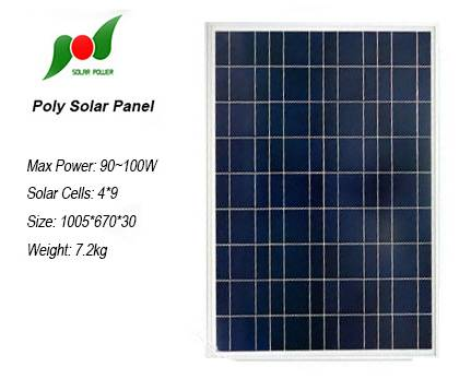 High efficiency 100W solar panel system for home