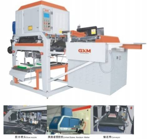automatic glue lid and tray corrugated shoe footwear carton box producing machine