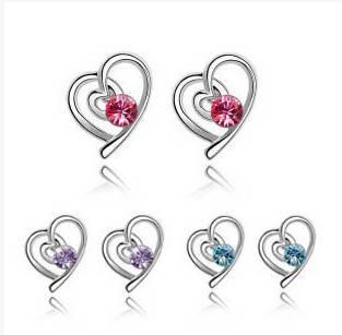 Fashion Women Crystal Heart Earrings