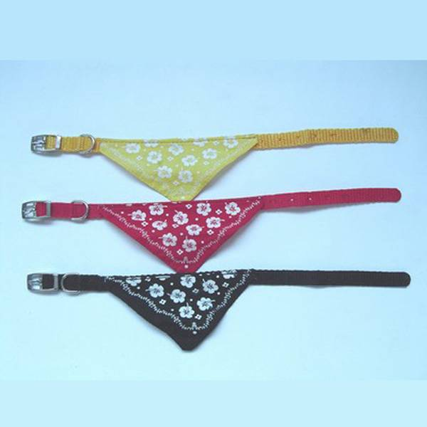 Leather Dog Collar with 3-triangle neckcloth