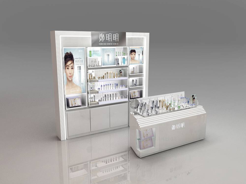 gloosy white paintting MDF csometic dispay cabinet and display counter
