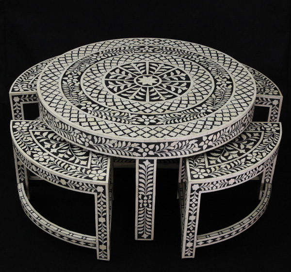 Bone Inlay Coffee Table With Stools Underneath