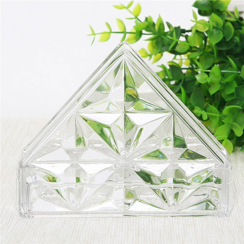 Home use table top napkin holder decorative clear glass napkin holder