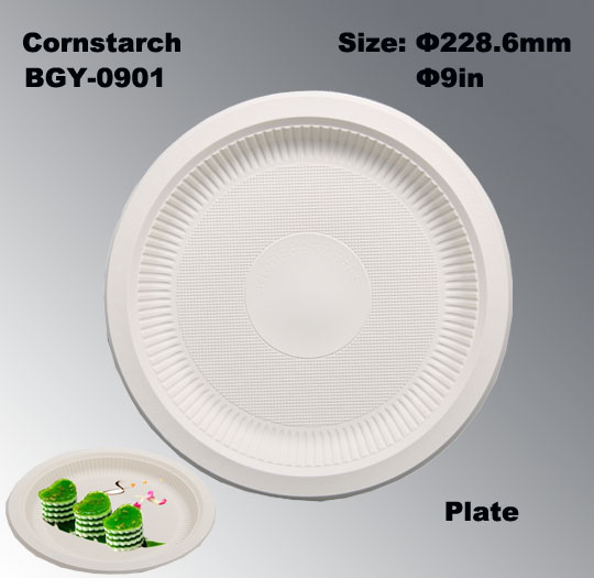 9 Inch Biodegradable Cornstarch Disposable Plate BGY-0901