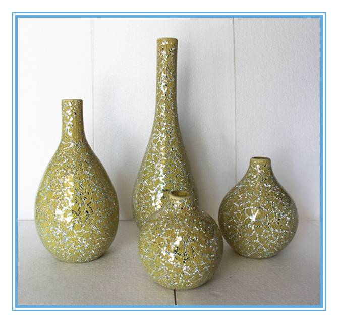 Decor handmade crackle mosaic glass vase