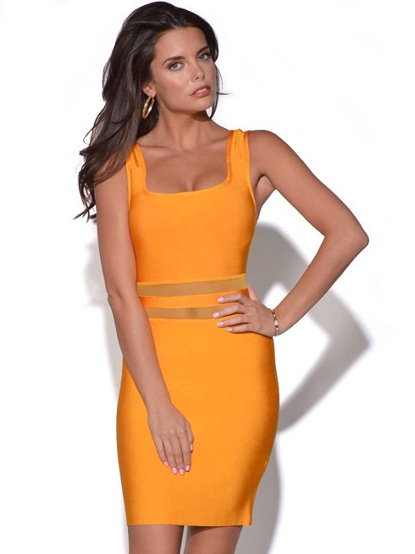 Orange square neck mesh one-piece slim dress