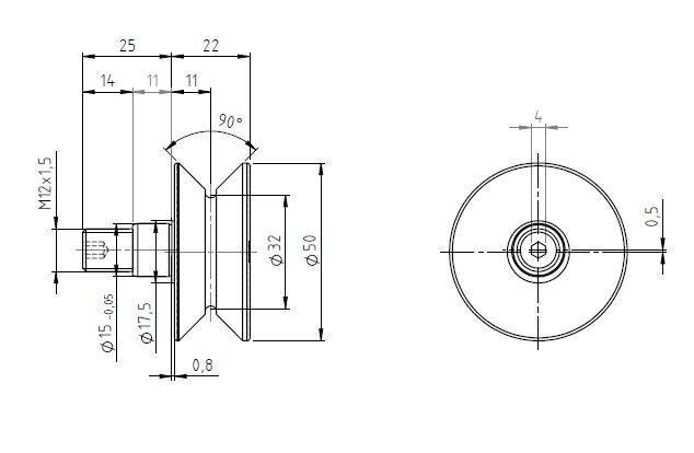 HPVE32, 90 degree V-grooved eccentric stud